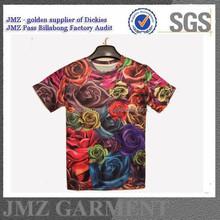 2015 fashion OEM men t-shirt beautiful flower 3D print t-shirt