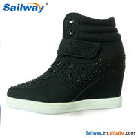 All black wedge trainer shoes, ladies fashion rhinestone upper heel sneakers