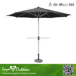 LY 2 year warrantee promise aluminum Frame stylish parasol alum pole black freestanding parasol alum pole and ribs U11004