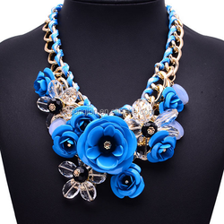 2015 cheap women chain necklace finished chain necklace artificial flower necklace