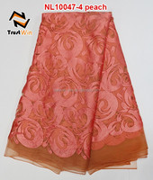 special design top selling peach color french lace curtains
