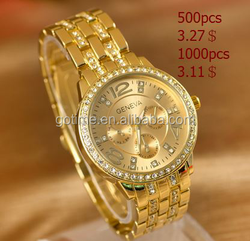 Hot selling comeptitve price gold crystall alloy watch
