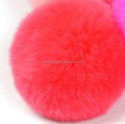 Key Chains Genuine 7cm Real Rex Rabbit Colorful/Factory direct supply rabbit skin fur material rabbit fur pompom ball/ pompoms /