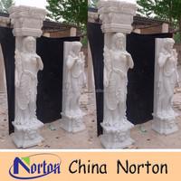 outdoor lady statue decorative stone pillar,roman stone column NTMF-C085S