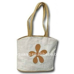 Mini Handle Jute Bag with Shaped Leather Flower