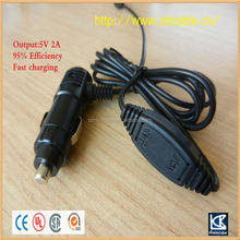 higher efficiency 5v 2a output car cigarette lighter usb in car mp3 player car charger