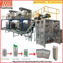Bag and Pouch Repacking Machine With Conveyor