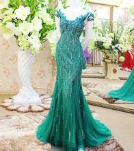 Real Sample Mermaid Cap Sleeve Beaded Crystal Mermaid Emerald Green Evening Dress 2015