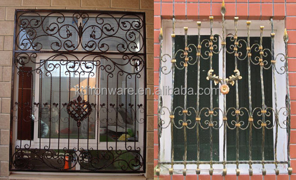 Modern french wrought iron metal window grill design view for Simple window designs for homes