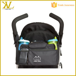 2015 High quality Luxury Durable Baby Stroller Diaper Bag For Accessories, stroller organizer bag with baby bottle holder