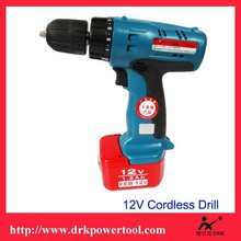 12V Cordless Drill with nickel-cadmium battery for drilling or screwdriving