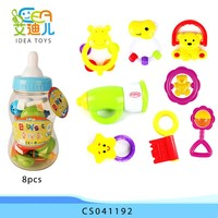 2015 new promotion happy rock bell 8pcs rattle baby toys