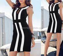 New 2015black and white together cultivate one's morality sexy sleeveless dresses