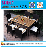 Hot sale Teak Wood +Rattan Dining Table and Chairs Set Outdoor Garden Furniture