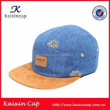 Cowboy Fabric 5 Panel Hat And Cap With Full Floral And Leather Patch