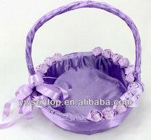 Romantic purple flower girls basket wedding gifts decoration
