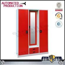 STEELITE Bedroom Furniture Utility Double Door Steel Wardrobe With Middle Mirror
