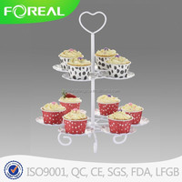 two tiers metal fountain white cake stand