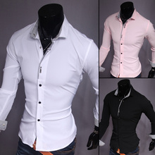 fast Shipping 2015 Fashion Casual slim fit men shirt long sleeve solid shirts for men 3 color asian size M-XXL UC807