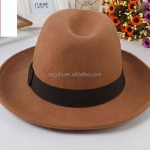 Black /Brown 56-58cm Popular European style wool dome hat cheap mens vintage fedora hats wholesale
