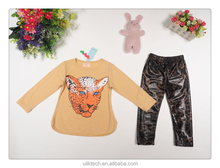 leopard long sleeve t shirt and pants frock design for girls