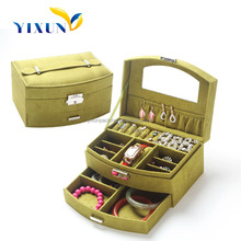 new products 2015 fancy faux suede jewellery box for birthday gift