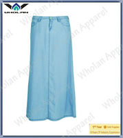 ladies denim maxi skirts-jeans long casual skirt for woman