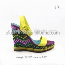 LQR06 leather lady wedge high heel fancy fashion sandal