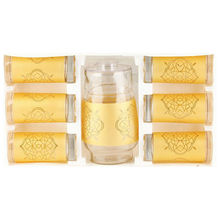 gold decal high quality glassware water set/glassware water set