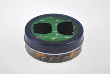 round cosmetic tiered tin case with window