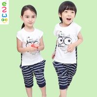 Children Black Cat Neutral Striped Suits Short Sleeve Summer Children Clothing Set Boys Swimming Suits