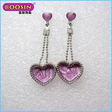 Lavender heart shape jewerly earrings, fashion 2015 drop earrings for women
