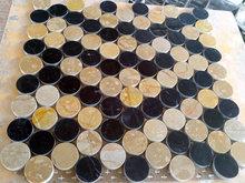Round black mixed gold marble mosaic adhesive film