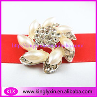 100pcs/lot 36mm pearl and rhinestone brooches for flowers