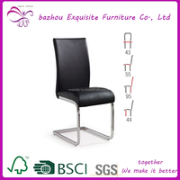 bazhou modern black leather chromed leg dining chair for dining room chair