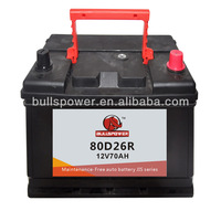 low Self-discharge mf automotive battery for car12v70ah,jis car battery packs,80d26r car battery
