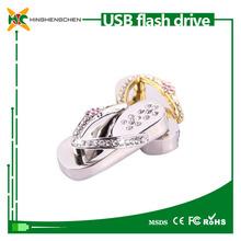 Hot sale slipper shape jewelry diamond usb flash drive 2gb 4gb 8gb 16gb