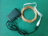 christmas led copper wire string light with DC plug and 110v -220v adapter