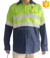 WHOLESALE!High quality unisex green/dark blue two tones hi vis uniform work shirt with three stitchings customize logo