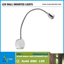 YJB-0002 1w gooseneck wall lamp flexible led reading light book lights