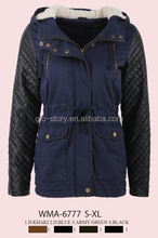 Glo-story Women cotton jacket leather sleeve quilted with lamb lining hood