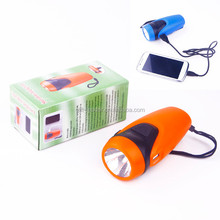 2015 new plastic usb hand crank manual flashlight XSDL0704