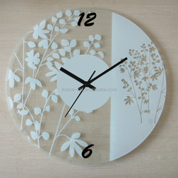Round Shaped Simple Flower Design Clear Glass Wall Clock Decorative Wall Clock For Modern Home Decor