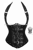 XXL movie girls Black Gothic Steampunk Faux Leather Halter Wetlook Boned Corset Waist Cincher