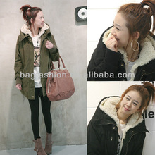 New women's winter thick dovetail long style lamb wadded jacket cheap cotton-padded coat 2013