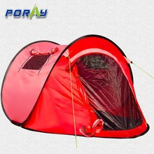 Red color Single layer boat pop up tent for two person with windows and mosquito