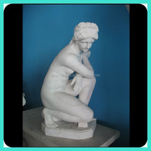 Carved Marble Nude Woman Statue