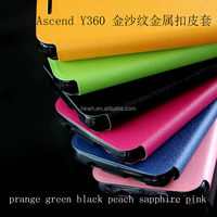 Slim Book Style Metallic Colors Flip Magnetic PU Leather Stand Cover Case For HUAWEI Y360
