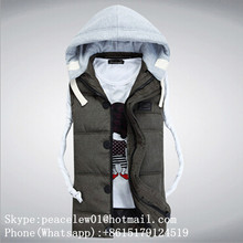 New 2015 fashion cotton gym sleeveless top mens vest with hood wholesale