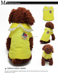big coat collar with lovely lace Yellow Warm dog clothing for winter